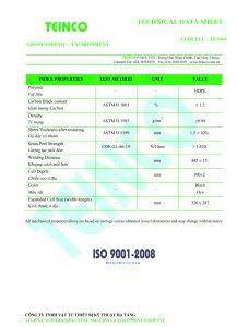 Thông số kỹ thuật Geocell TCVN